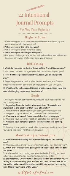 22 Intentional Journal Prompts for New Years Reflection — Will Frolic for Food Gratitude Journal Prompts, Bullet Journal Prompts, Writing Therapy, Journal Questions, Therapy Journal, Self Care Bullet Journal, Manifestation Journal, Nouvel An, Self Improvement Tips