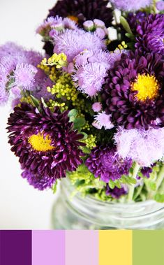 27 Ideas For Painting Flower Purple Color Palettes Scheme Color, Colour Schemes, Color Combos, Shades Of Yellow, Mellow Yellow, Green And Purple, Bright Green, Dark Purple, Wedding Colors