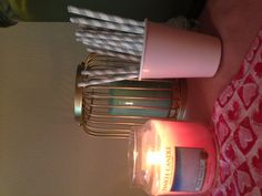 Bridal shower details! Candles and striped straws