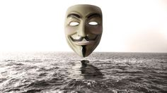 Anonymous mask above water