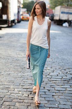 Love this relaxed summer look! Super cute Drawstring Sarong - Cerulean | Emerson Fry