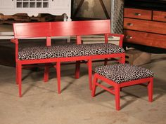 By fusing the chairs together, they fashioned a vibrant, one-of-a-kind bench and ottoman set.
