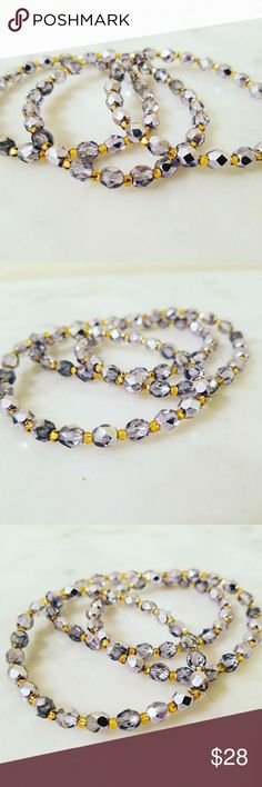 Silver Fairytale Twinkle  Bracelets Sparkling silver Czech glass beads with silver lined gold Czech glass seed beads for spacers. Strung on thick stretch cord for durability.  Perfect for layering and the beads shine and sparkle in the light. Listing is for individual bracelets. Limited Supply.   Magen's Fairytale Creations original handmade by me. Magen's Fairytale Creations Jewelry Bracelets