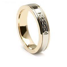 This Celtic wedding ring is a very popular choices for couples on their big day and to wear for the rest of their lives together. The elegant mix of yellow and white gold gives this ring a very modern style. The Celtic knot provides a bit of the past.  Celtic knots have very diverse meanings. One of the more common meanings is eternity since the knot has not beginning and no end. For any couple with plans to be together forever, this ring truly is the ultimate choice.  Women