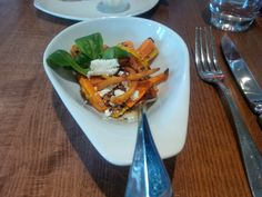 Roasted vegetables salad with goat cheese, sesame and coriander churros @ Restaurant Krone