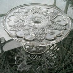 ~~Heart with Thumbprint Pedestal Cake Stand Antique~~