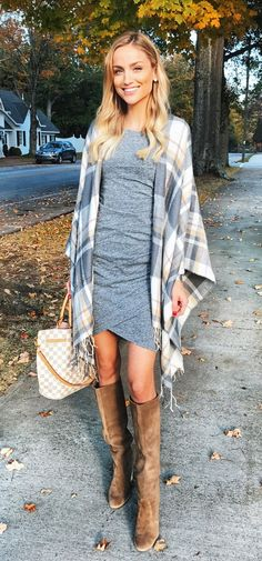 #fall #outfits women's gray and white plaid cardigan. Click To Shop This Look.