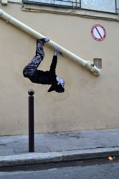 Paste up street art by French artist Levalet. Playful use of graffiti to brighten up the mundane space 3d Street Art, Murals Street Art, Urban Street Art, Amazing Street Art, Street Art Graffiti, Street Artists, Urban Art, Amazing Art, Awesome