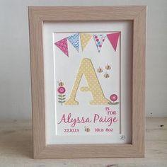 Girls Personalised Name Frame, Hand Cut Letter, Nursery Art, Gift, Children's… Box Frame Art, Name Frame, Box Frames, Diy Baby Gifts, Baby Crafts, Crafts For Kids, Homemade Cards, Homemade Gifts, Scrabble Art
