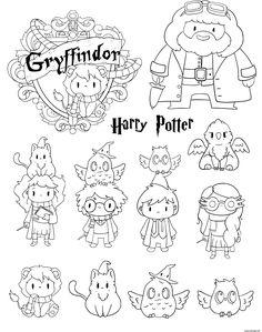 Coloriage Harry Potter Gryffindor Personnages Kawaii Dessin Harry Potter à imprimer