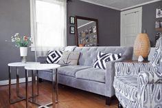 Warm greys and wood flooring.