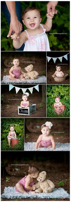 Baby photography. Love the bunting in the back.