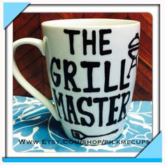 Grill master handpainted coffee mug grilling grill obsessed mug coffee gifts on Etsy, $20.00