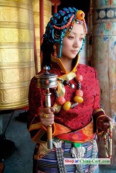 China Tibetan Female Clothing Complete Set