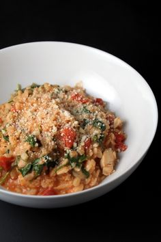 obsessed with barley...creamy barley with tomatoes, chicken and spinach...needs less water next time