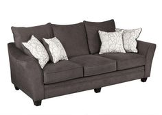 Casual Elegance. Our Casa sofa delivers contemporary style pieces upholstered in two-tone gray fabric. Toss pillows in half body fabric and half correlated fabric provide visual interest and adds a collection of color and pattern. The toss pillows are reversible which doubles the life of the fabric and allows for easy care. Welted seat and back cushions are reversible and zippered for easy maintenance. Deep seating provides plenty of seating room and comfort, while 1.8 foam density seat…