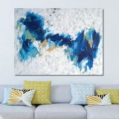"""""""Distinction"""" by Omar Obaid. A large minimal abstract painting with deep tones of blue. The layers of acrylic display visible texture created using a palette knife. An eye-catching piece and conversational painting. Click to view more of Omar Obaid's collection on FineArtSeen l The Home Of Original Art. >> Pin For Later <<"""