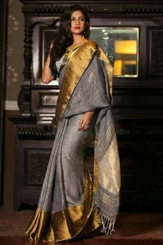 Fashion is like food; you shouldn't stick to the same menu. #clothing #fashion #style #streetwear #clothes #art #brand #fashionblogger #model #streetstyle #instagood #design #outfit #clothingline #fashionista #designer #outfitoftheday Kalamkari Saree, Lehenga Saree, Silk Sarees, Anarkali, Grey Saree, Stylish Sarees, Elegant Saree, Saree Look, Indian Wedding Outfits