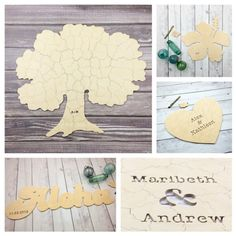How to use a custom wooden jigsaw puzzle as a guest book at your wedding. (Hint: keep all the puzzle pieces in one place.)