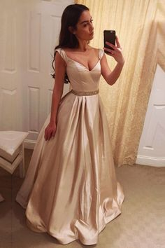 Light Champagne Prom Dresses Long Satin Party Dress
