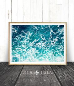 Ocean Water Wall Art Print, Ocean Water Waves, Beach Coastal Decor, Colour Photography, Printable Instant Digital Download, Modern…