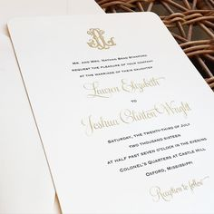 """Fresh Ink Portfolio on Instagram: """"Wedding Invitations for Lauren Stanford and Josh Wright featured a vintage monogram and accents in sparkling gold engraving with the prettiest gold edge adorning the card.. . . . #mississippi #mississippiweddings #weddinginvitations #weddingplanner #weddingday #invitations #southernweddings #ido"""""""