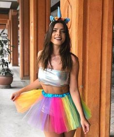 Ideas Birthday Makeup Looks For 2019 Unicorn Halloween Costume, Pregnant Halloween Costumes, Halloween Outfits, Rave Party Outfit, Rave Outfits, Halloween Disfraces, Carnival Costumes, Festival Outfits, Costumes For Women