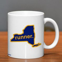 New York State Runner Ceramic Mug | Running Coffee Mugs | Coffee Mugs for Runners
