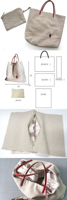 Sew a tote bag with leather handles.  Photo Tutorial  http://www.free-tutorial.net/2016/12/diy-lined-tote-bag.html