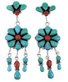 Turquoise And Coral Sterling Silver Post Dangle Earrings AX50925-0