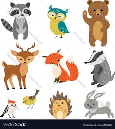 Cute forest animals Vector Image by fireflamenco