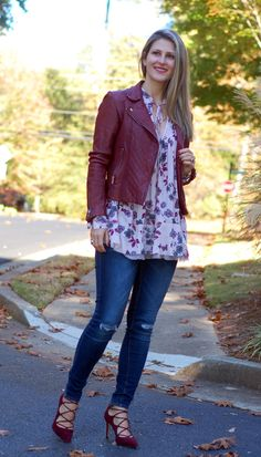 Teodora's Lookbook fall outfit; floral top, burgundy leather jacket, oxblood leather jacket, dark denim, lace up heels
