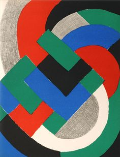 By Sonia Delaunay (1885-1979), 1969,  Composition Bleu Vert Rouge.