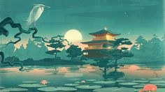 Thefoxisblack_com asian oriental cultural lakes ponds gardens nature art animals birds crane flowers lily lilies sky moon reflection mood architecture fantasy castle buildings trees landscapes wallpaper Japanese Artwork, Japanese Painting, Fantasy Castle, Fantasy Art, Painting Wallpaper, Hd Wallpaper, Computer Wallpaper, Painting Art, Poster Manga