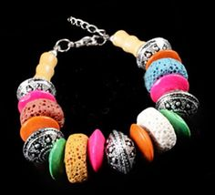 Cute-Colorful-Bracelet.....can make it with colored stones
