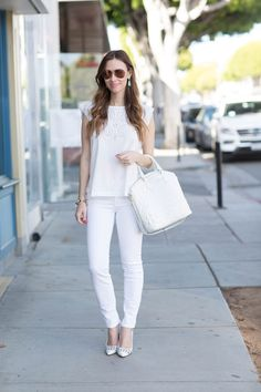 how to wear a white on white outfit for spring- M Loves M
