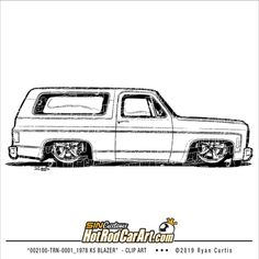 Clip art illustration 1978 Chevy Blazer Classic Truck by SIN Customs artist Ryan Curtis Truck Coloring Pages, Colouring Pics, Cool Car Drawings, Colorful Drawings, Car Drawing Pencil, Drawing Machine, Inside Art, Truck Art, Garage Art