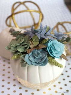 This felt succulent pumpkin centerpiece is the perfect statement piece for your Thanksgiving table! Design by handcrafted lifestyle expert Lia Griffith Felt Crafts Diy, Felt Diy, Fall Crafts, Diy Crafts For Kids, Craft Ideas, Diy Ideas, Paper Flowers Wedding, Crepe Paper Flowers, Felt Flowers