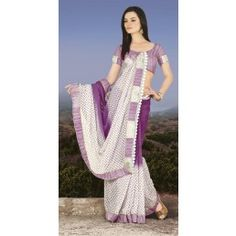 Shaded Violet with White color Chiffon georgette saree