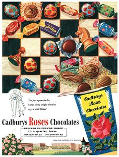 A bit of research on vintage Cadbury's adverts led me to this beauty, an original Roses advertisement! Vintage Sweets, Retro Sweets, Vintage Candy, Vintage Holiday, Retro Vintage, Vintage Food, Retro Ads, Vintage Advertisements, Advertising Signs