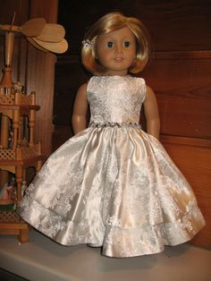 White and silver brocade princess dress with sequins