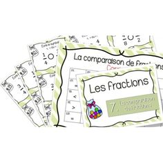 Comparaison de fractions - Cartes à tâches ! Cycle 3, Math Fractions, Multiplication, Math Blocks, French Immersion, Math Numbers, Science Activities, Fun Math, Task Cards