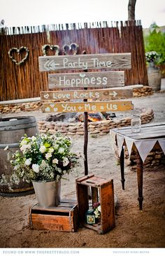 crates, barrels, bunting. metal buckets, signage made from reclaimed wood, old wood table, mason jars - we carry EVERYTHING in this Inspiration photo. So be inspired. And then call for Your creative design session.