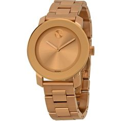 Movado Bold Rose Dial Rose Gold-tone Stainless Steel Unisex Watch ($389) ❤ liked on Polyvore featuring jewelry, watches, analog wrist watch, dress watch, unisex watches, movado watches and water resistant watches