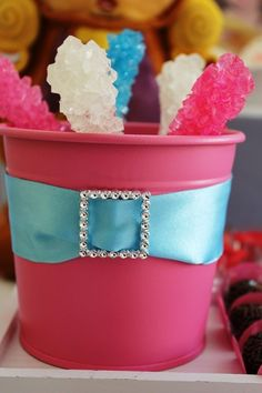Table Decor - Rock candy is great for a Snow White's party theme (mined diamonds)