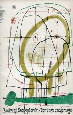 """""""Portret znajomego"""" Andrzej Szczypiorski Cover by Jan Młodożeniec (Mlodozeniec) Illustration Styles, Illustrations, Polish Posters, Type Posters, Vintage Poster, Love Design, Art School, Book Covers, Poland"""