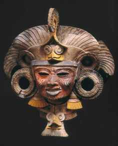 Mask from and incense burner depicting the old deity of fire, Teotihuacan Culture, Mexico.