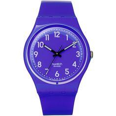 Swatch Watch Unisex Swiss Callicarpa Purple Polyurethane Strap 34mm... ($50) ❤ liked on Polyvore