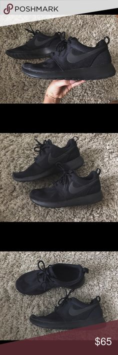 All Black Nike Roshe Running Shoes I got these Nikes for Christmas and I've probably worn them less than 5 times. They're in great condition and they're so stylish. I just don't need them anymore! Nike Shoes Athletic Shoes