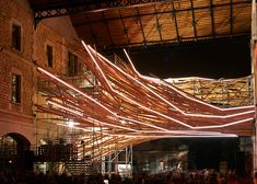 built into the darwin ecosystem project's green building in bordeaux, france, 1024 architecture has built 'vortex', a generative light sculpture made from construction scaffolding. Street Installation, Light Installation, Art Installations, Darwin Bordeaux, 1024 Architecture, Ecosystems Projects, Label Art, Arcology, 360 Design